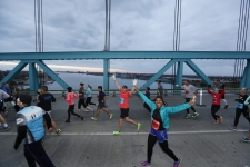 Runners cross the Ambassador Bridge towards Canada during the 38th Annual Detroit Free Press/Talmer Bank Marathon in Detroit on Sunday, Oct. 18, 2015.